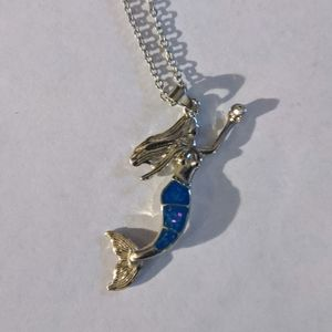 Mermaid faux opal silver necklace moving tail!